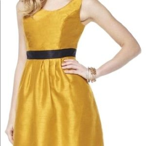Gold metallic pleated dress with pockets